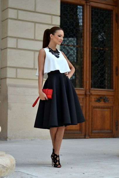 High Waisted Flared Midi Skirt - Dress Ala