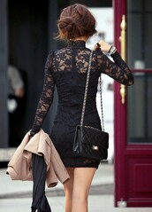 dress,lace dress,black dress,black lace,black lace dress,handbag,lace,blazer,nude blazer,bodycon dress,bracelets,jacket,little black dress