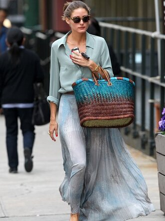 bag basket bag blue bag tie dye skirt maxi skirt flowy blue skirt shirt blue shirt sunglasses streetstyle olivia palermo fashionista spring outfits