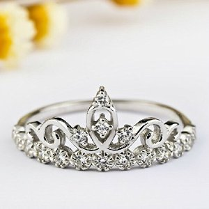 Amazon.com: MP Rhodium Plated Silver Color Princess Crown Ring 061785J J0701 Size US 5: Jewelry
