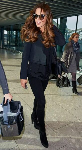 jacket vest all black everything kate beckinsale fall outfits