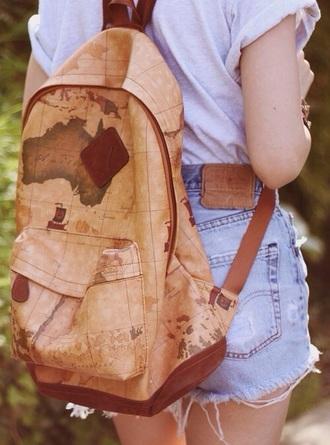 bag backpack world travel map