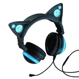earphones headphones glow in the dark headphones glow headphone cat ears cats cute music