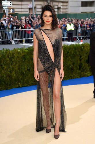 dress gown prom dress sexy dress see through dress see through kendall jenner kardashians met gala met gala 2017 slit dress keyhole dress shoes