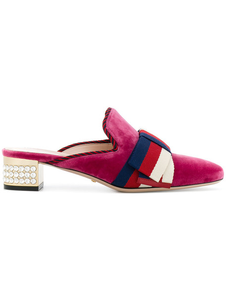 gucci heel women mules leather velvet purple pink shoes