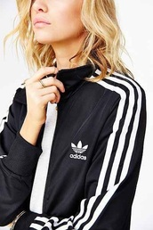 sweater,adidas,black with white stripes,jumper,no hood,black and white