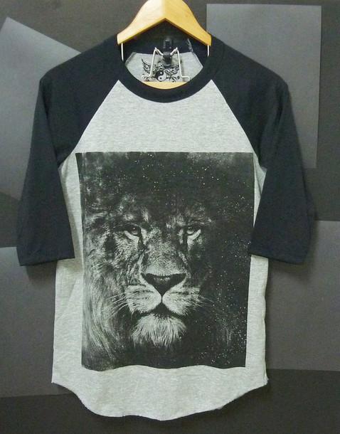 t-shirt lion tshirt lion shirt baseball tee raglan tee women tshirt men tshirt