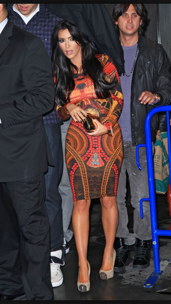 kim kardashian bodycon long sleeves knee length print