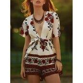 romper,spring,floral,red,white,low cut,summer,trendsgal.com
