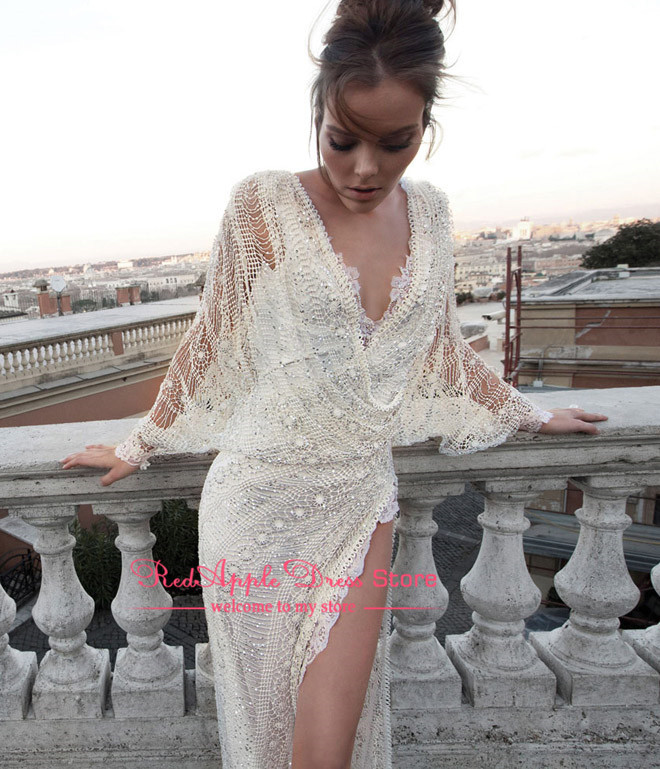 Latest Dress Designs Sexy See Through V Neck Natural Waist High Side Slit Prom Dress Elegant Lace Evening Dress 2014-in Evening Dresses from Apparel & Accessories on Aliexpress.com
