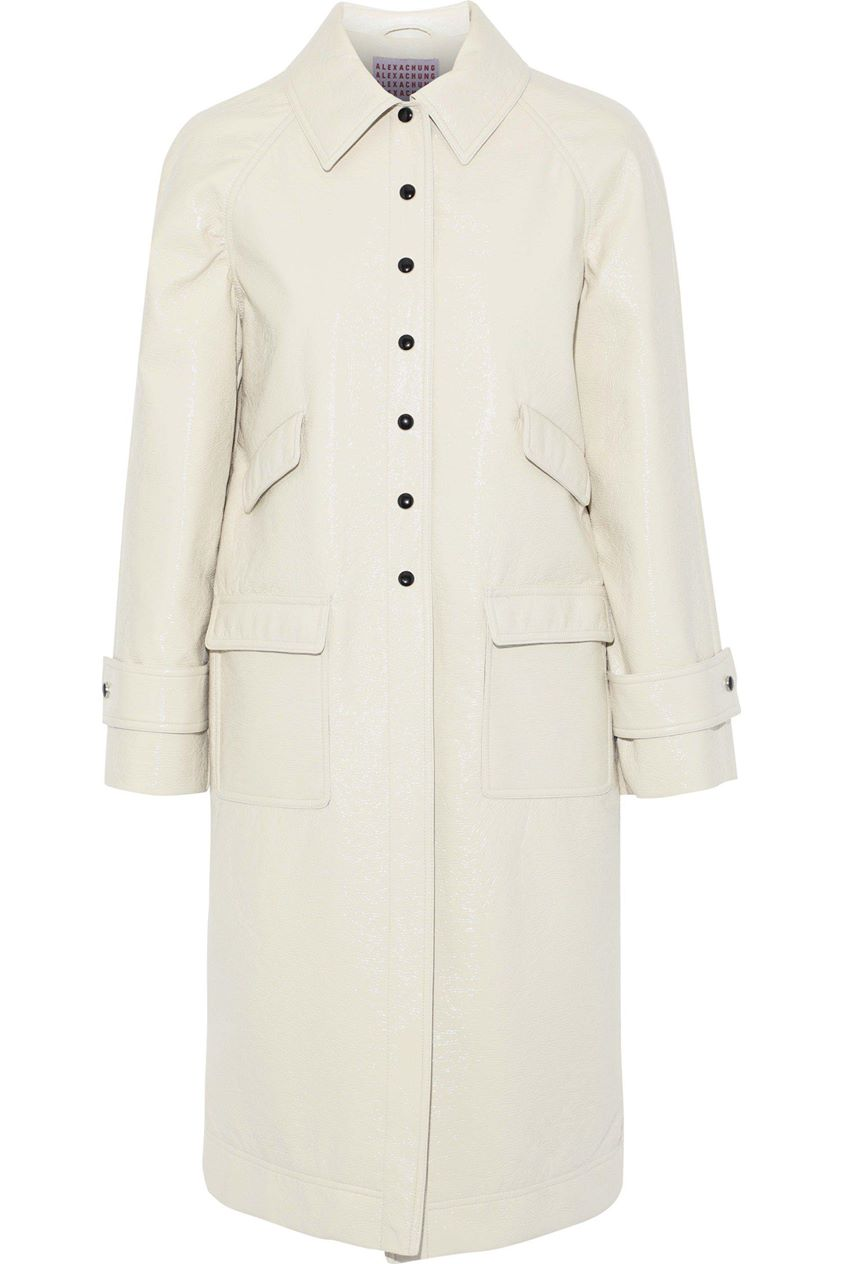 Alexachung Woman Appliquéd Crinkled Faux Leather Coat Ivory Size 6