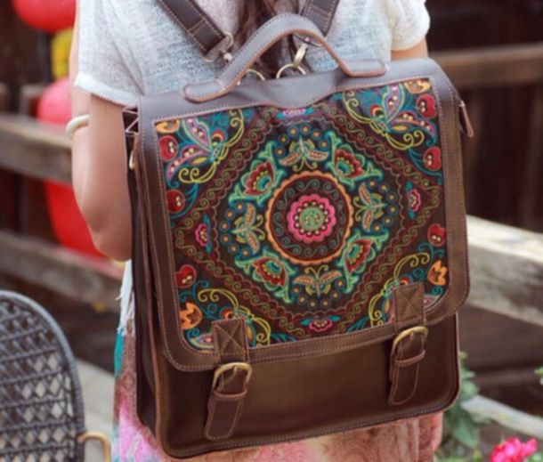bag ethnic rucksack shoulder bag buddhist leather backpack boho bag pattern boho indie vintage girl cute travel accessories instagram weheartit brown