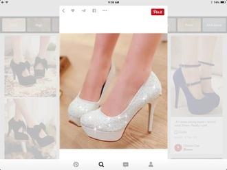 shoes sparkle sparkles high heels high heels white prom wedding