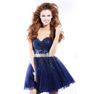 dress navy sparkle prom dress
