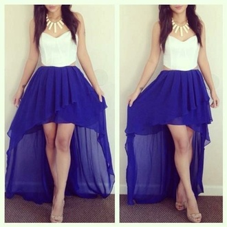 dress white and blue dress high low dress white dress homecoming dress