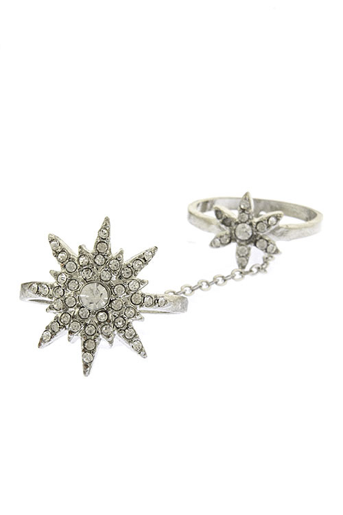 Crystal North Star Double Linked Knuckle Ring