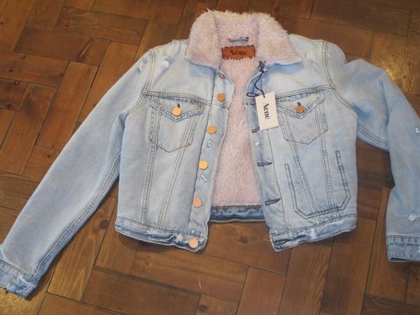 acne studios jacket denim shearling shearling denim jacket