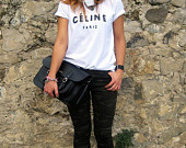 celine paris t shirt on Etsy, a global handmade and vintage marketplace.
