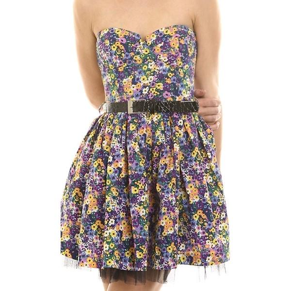 HONDO Floral Studded Belt Bustier Dress - Polyvore
