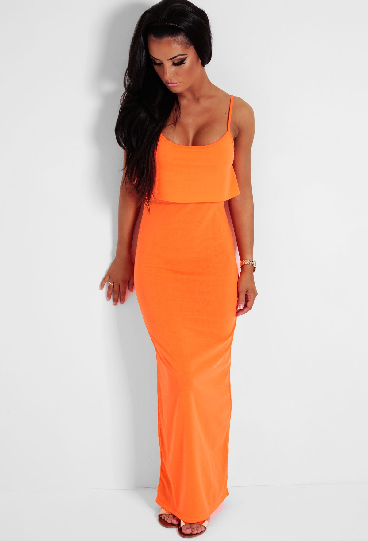 Twist Fluorescent Orange Ruffle Maxi Dress | Pink Boutique