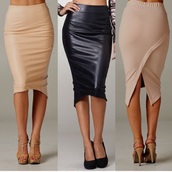 skirt,long beige pencil skirtt,leather look front,spandex back panel skirt,pencil skirt