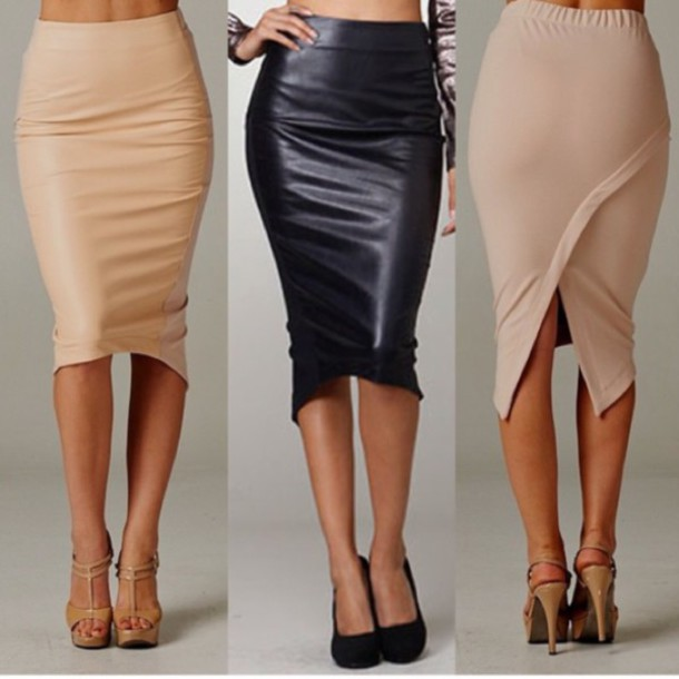 Skirt: long beige pencil skirtt, leather look front, spandex back ...