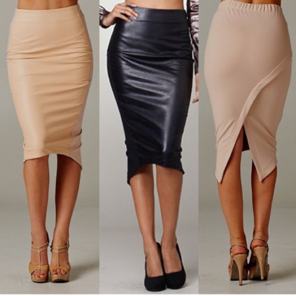 skirt long beige pencil skirtt leather look front spandex back panel skirt pencil skirt