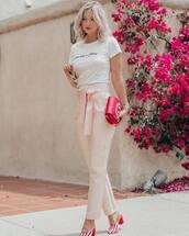 top,white top,pants,pink pants,shoes,sunglasses