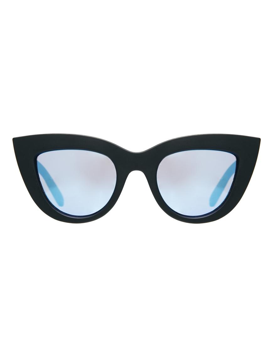 ASOS Matte Flat Top Cat Eye Sunglasses With Blue Flash Lens at asos.com