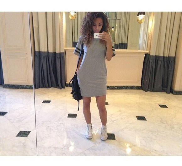 dress long beautiful tshirt dress grey t-shirt black