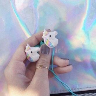 earphones unicorn colorful white