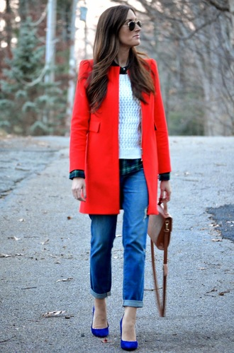 red coat coat jeans bag classroom couture blogger sunglasses cropped pants knitted sweater
