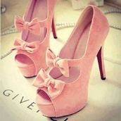 shoes,high heels,pink,heels,bow,pastel,girly,pink high heels,bows,pink shoes,givenchy,delicate