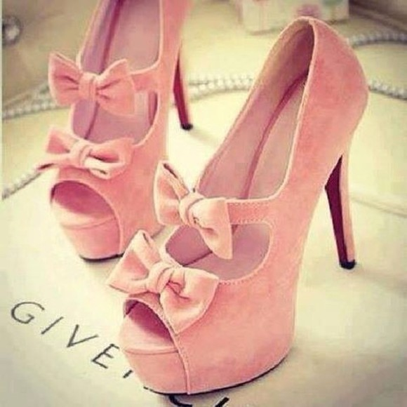 high heels givenchy pink shoes shoes pink bows pastel girly pink high heels bows