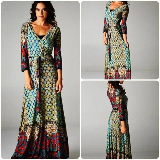 Dress: maxi dress, pattern, long sleeve maxi - Wheretoget