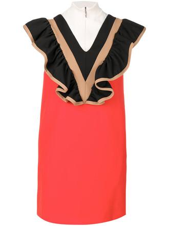 dress high women high neck spandex cotton red