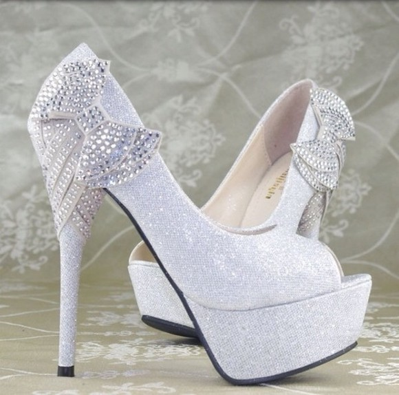 sparkly shoes jewels diamonds bow high heels sliver
