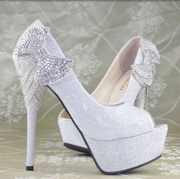 shoes heels bow sparkle sliver jewels diamonds