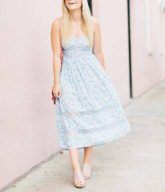 dress tumblr blue dress floral floral dress light blue midi dress summer dress summer outfits mules nude shoes heels bag shoes
