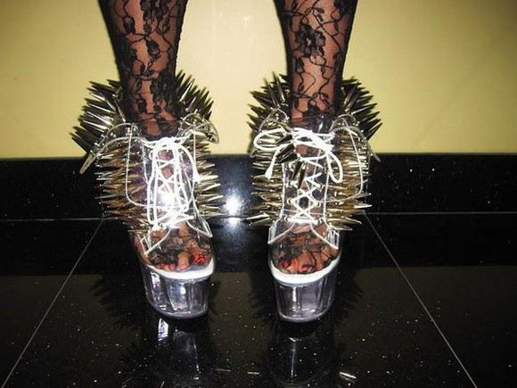 shoes spikes silver boots high heels spiked heels stripper shoes stripper clear