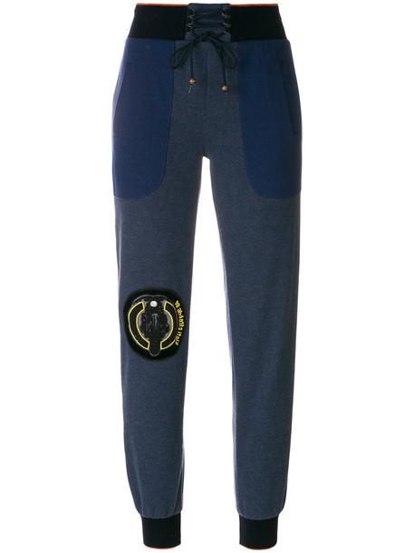 Mr & Mrs Italy sweatpants women cotton blue silk pants