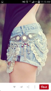 belt,shorts,denim shorts,summer shorts,style,festival,jewels,embellished denim