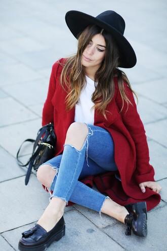 dulceida blogger coat shirt hat jeans bag shoes