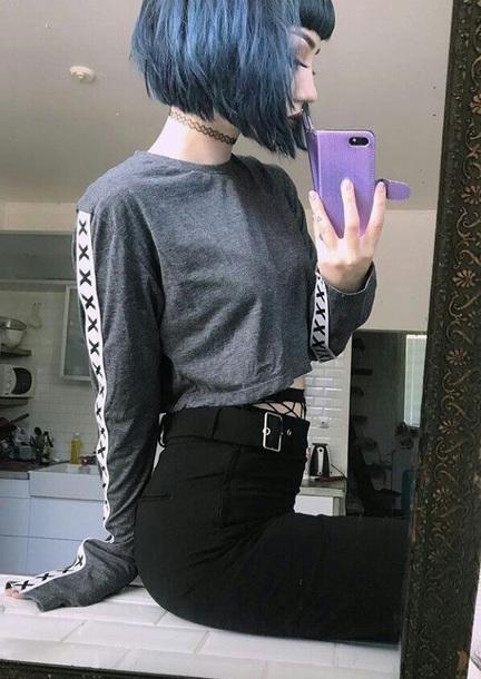shirt grunge long sleeves aesthetic alternative