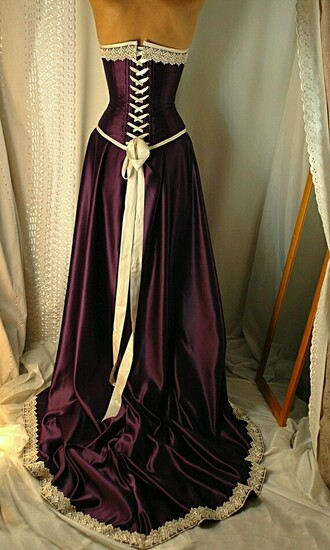dress burgundy ivory long dress corset renaissance beautiful