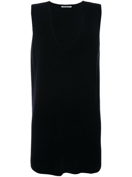 T by Alexander Wang top knitted top sleeveless women black silk wool