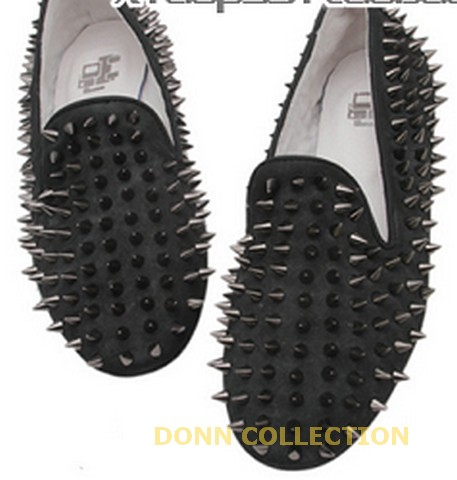 Ladies women black green red loafers shoes flat spike punk studded point rivets