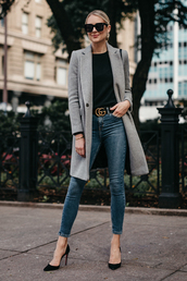 coat,grey coat,tumblr,top,black top,denim,jeans,blue jeans,skinny jeans,pumps,pointed toe pumps,sunglasses,belt,fashionjackson,blogger,sweater,shoes,bag,jewels