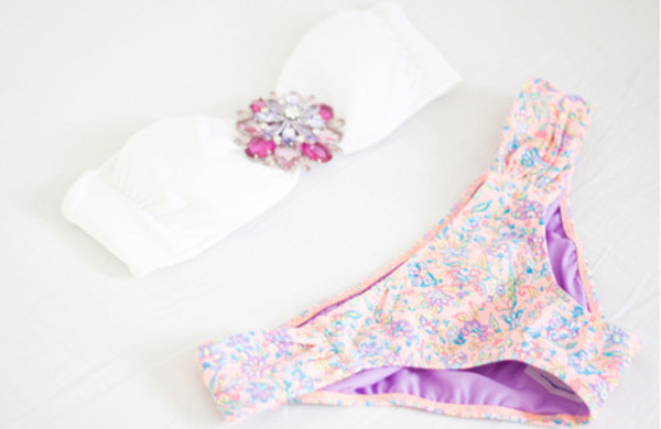 swimwear diamonds pink clothes swimwear white vintage pretty bikini gem jewels white swimwear floral swimwear jewels floral pastel pale beige victoria's secret cute swimwear