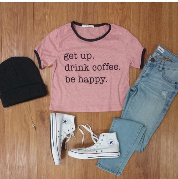 shirt coffee pink black top happy face coffee tshirt
